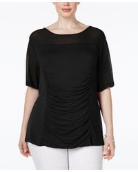 INC International Concepts | Black Plus Size Illusion Ruched Top, Only At Macy's | Lyst