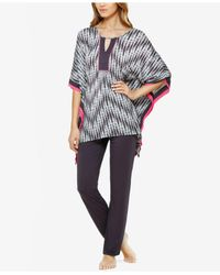 Ellen Tracy | Gray Caftan Top And Pants Knit Pajama Set | Lyst