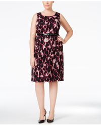 Kasper | Black Plus Size Jacquard Printed Sheath Dress | Lyst