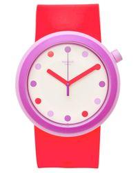 Swatch Pink Unisex Swiss Pop Bright Red Silicone Strap Watch 41mm Pnp100