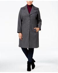 Tommy Hilfiger | Gray Plus Size Wool-blend Walker Coat | Lyst