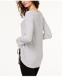 INC International Concepts - White Striped Drawstring Top - Lyst