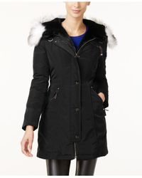 Laundry by Shelli Segal | Black Faux-fur-trim Hooded Parka | Lyst
