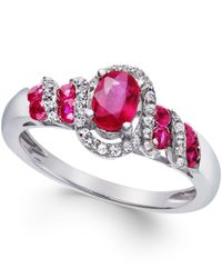 Macy's - Multicolor Ruby (7/8 Ct. T.w.) And Diamond (1/6 Ct. T.w.) Twist Ring In Sterling Silver - Lyst