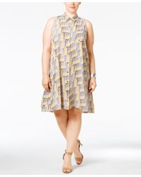 Alfani Multicolor Plus Size Printed Trapeze Shirtdress, Only At Macy's