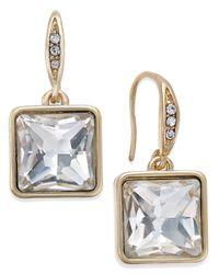 ABS By Allen Schwartz | Metallic Gold-tone Square Crystal Mini Drop Earrings | Lyst