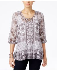 Style & Co. | Gray Printed Peasant Top, Only At Macy's | Lyst