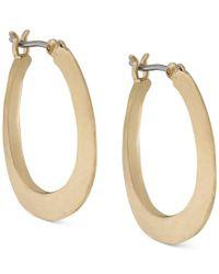 Lauren by Ralph Lauren | Metallic 14k Gold-plated Sculptured Hoop Earrings | Lyst