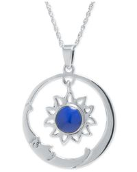 Macy's | Metallic Manufactured Lapis And Moon Pendant Necklace In Sterling Silver | Lyst