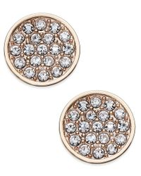 kate spade new york | Metallic Rose Gold-toned Pave Disc Stud Earrings | Lyst
