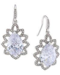 Carolee | Metallic Silver-tone Crystal Teardrop Ornate Drop Earrings | Lyst