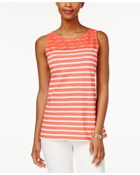 Charter Club - White Petite Striped Crochet-detail Tank Top, Only At Macy's - Lyst