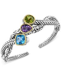 Effy Collection   Metallic Balissima By Effy Multi-gemstone Open Cuff Bangle Bracelet (9-1/2 Ct. T.w.) In Sterling Silver And 18k Gold   Lyst