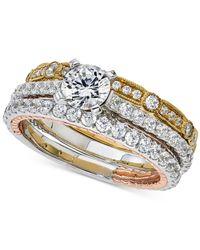 Macy's | Metallic Diamond Tri-tone 3-pc. Bridal Set (2 Ct. T.w.) In 14k White, Rose And Yellow Gold | Lyst