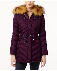 Laundry by Shelli Segal | Purple Faux-fur-trim Hooded Puffer Coat | Lyst