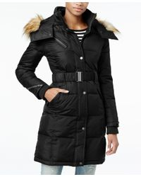 RACHEL Rachel Roy | Black Hooded Faux-fur-trim Puffer Coat, Only At Macy's | Lyst
