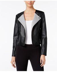 Michael Kors | Black Petite Faux-leather Moto Jacket | Lyst