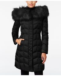 T Tahari | Black Faux-fur-trim Hooded Puffer Coat | Lyst