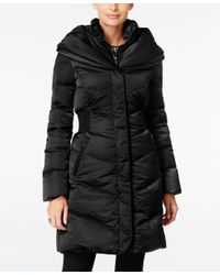 T Tahari   Black Pillow-collar Hooded Puffer Coat   Lyst