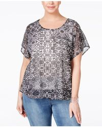 Style & Co. | Multicolor Plus Size Flutter-sleeve Printed Embellished Blouse, Only At Macy's | Lyst