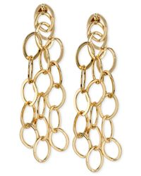 2028 - Metallic Gold-tone Interlocking Circle Linear Drop Earrings - Lyst
