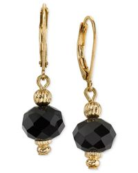 2028 | Metallic Gold-tone Jet Bead Drop Earrings | Lyst