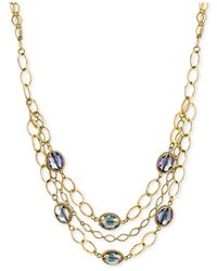 2028 | Metallic Gold-tone Blue Stone Open-link Multi-layer Collar Necklace | Lyst