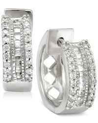 Macy's | Metallic Diamond Huggy Hoop Earrings (1/4 Ct. T.w.) In Sterling Silver | Lyst