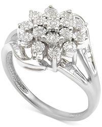 Macy's   Metallic Diamond Cluster Ring (1/5 Ct. T.w.) In Sterling Silver   Lyst