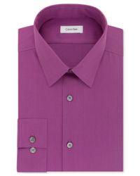 Calvin Klein - Purple Steel Men's Slim-fit Non-iron Performance Herringbone Dress Shirt for Men - Lyst