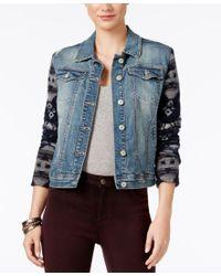 Vintage America   Blue Mixed-media Denim Jacket   Lyst