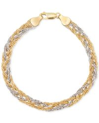 Macy's | Metallic Two-tone Braided Chain Bracelet In 14k Yellow And White Gold, Made In Italy | Lyst