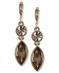 Givenchy - Metallic Gold-tone Marquise Crystal Drop Earrings - Lyst