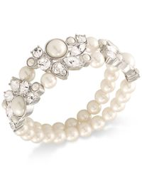 Carolee | Metallic Silver-tone Imitation Pearl And Crystal Double-row Stretch Bracelet | Lyst
