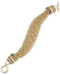Carolee | Metallic Gold-tone Crystal-enhanced Multi-chain Toggle Bracelet | Lyst