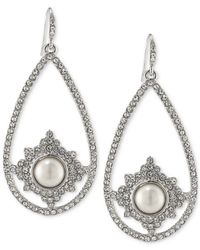 Carolee | Metallic Silver-tone Imitation Pearl And Pavé Pear Drop Earrings | Lyst