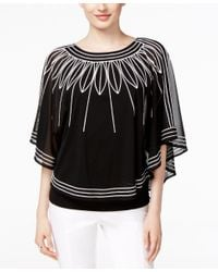Alfani Black Batwing-sleeve Embroidered Top, Only At Macy's