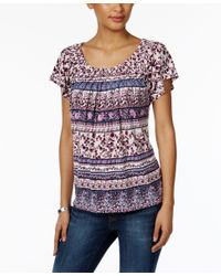 Style & Co. | Purple Printed Pleat-neck Top, Only At Macy's | Lyst