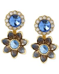 Betsey Johnson | Gold-tone Blue Crystal Floral Front And Back Earrings | Lyst