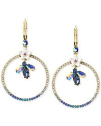 Betsey Johnson | Metallic Gold-tone Crystal Bug And Flowers Gypsy Pave Hoop Earrings | Lyst
