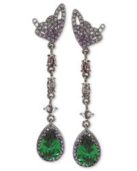 Betsey Johnson   Metallic Hematite-tone Butterfly And Green Stone Linear Drop Earrings   Lyst