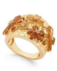 Macy's | Metallic Citrine (2-1/8 Ct. T.w.) And White Topaz (1 Ct. T.w.) Flower Statement Ring In 14k Gold Vermeil | Lyst