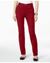 Style & Co. | Red Petite Tummy-control Straight-leg Jeans, Only At Macy's | Lyst