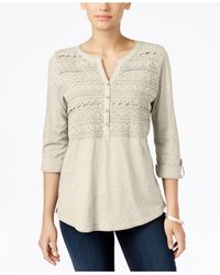 Style & Co. | Multicolor . Petite Crochet-front Top, Only At Macy's | Lyst