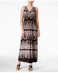 Style & Co. | Multicolor Petite Printed V-neck Maxi Dress, Only At Macy's | Lyst