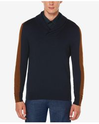 Perry Ellis | Blue Men's Jacquard Shawl-collar Sweater for Men | Lyst