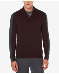 Perry Ellis | Multicolor Men's Jacquard Shawl-collar Sweater for Men | Lyst