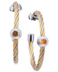 Charriol | White Women's Fabulous Citrine-accent Two-tone Pvd Stainless Steel Cable Hoop Earrings | Lyst