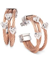 Charriol | Pink Women's Malia White Topaz-accent Two-tone Pvd Stainless Steel Cable Hoop Earrings | Lyst