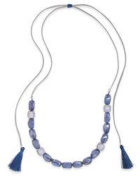 INC International Concepts - Metallic Silver-tone Blue Stone Tassel Slider Necklace - Lyst